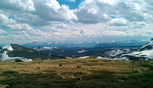 bear tooth, mountains, scenery, landscape, clouds, sky