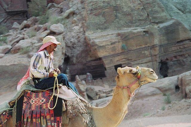 bedouin, dromedary, petra, the red, the colorful, siq