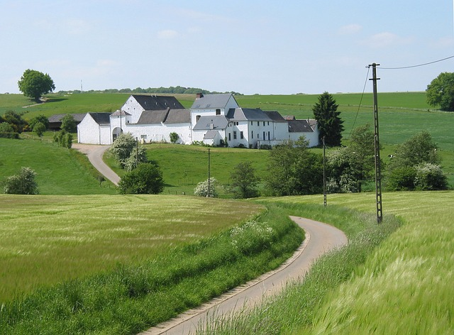 belgium, farm, landscape, house, home, landmark, fields