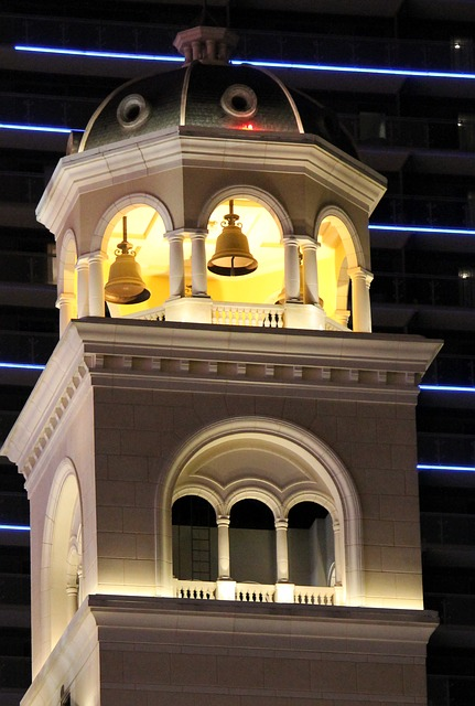 bell, tower, night, towers, building, architecture