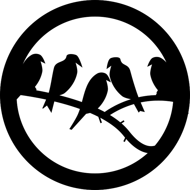 birds, branch, twig, animal, badge, round, silhouettes