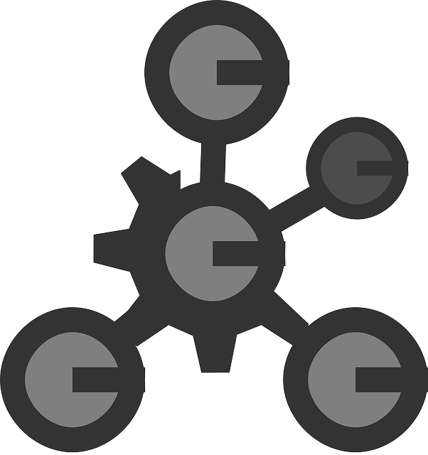 black, flat, circle, grey, theme, lines, molecule, icon