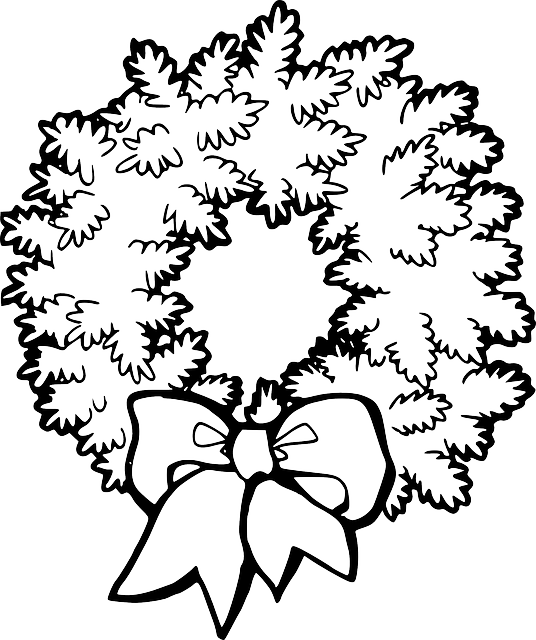 black, green, decorations, wreath, holly, outline