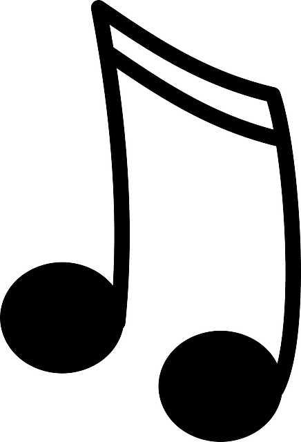 black, music, icon, two, note, small, outline, symbol