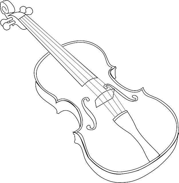 black, music, outline, white, musical, violin