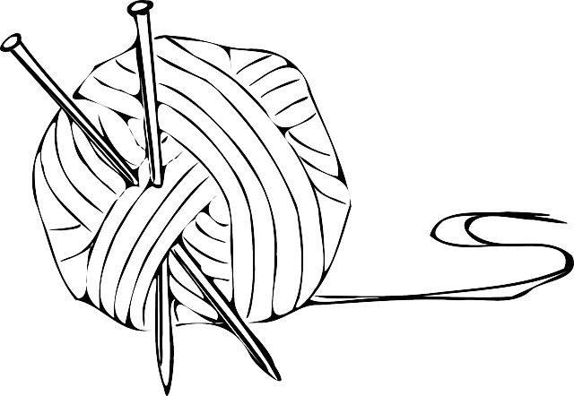 black, outline, drawing, white, cartoon, knitting, ball