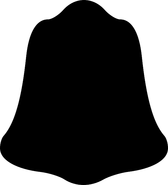 black, outline, silhouette, christmas, bell, holidays