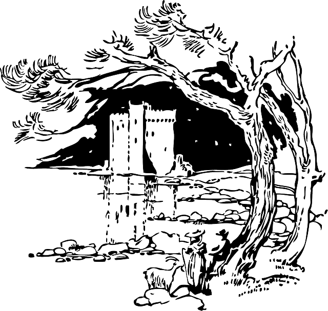 black, outline, tree, white, castle, trees, pond
