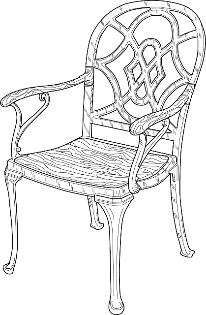 black, outline, wooden, chair, white, free, furniture