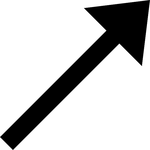 black, right, simple, small, north, arrow, cartoon