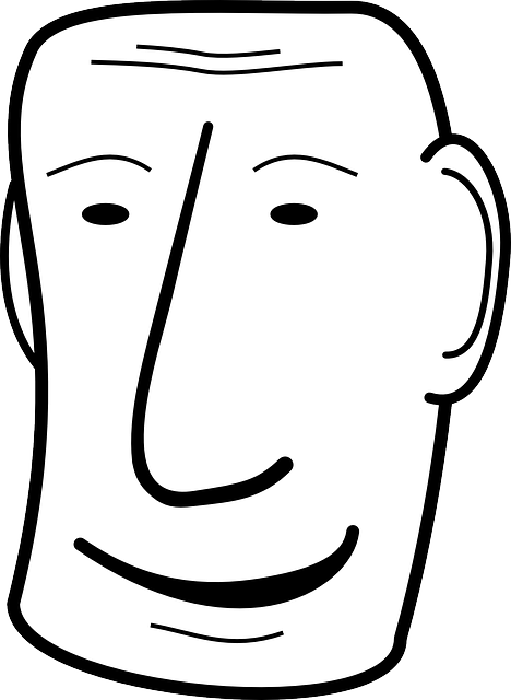 black, simple, drawing, people, man, face, white, five