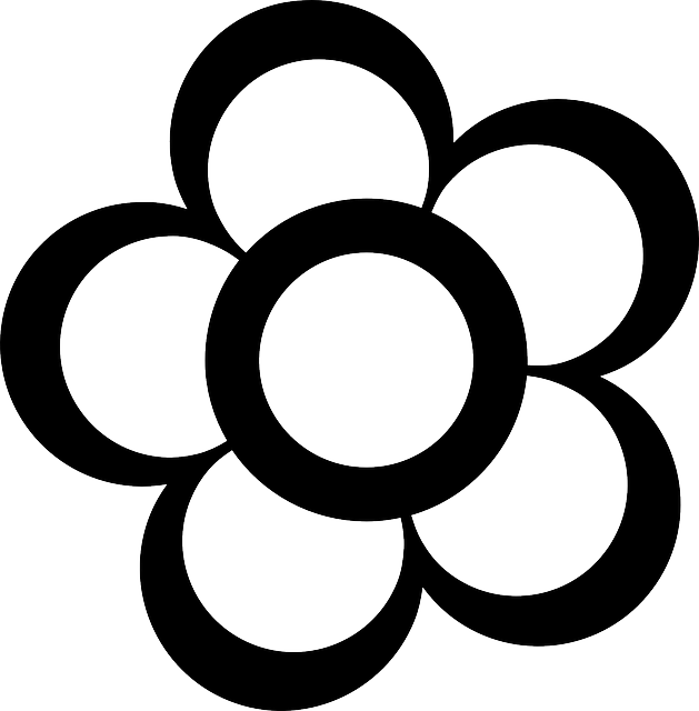 black, simple, outline, drawing, flower, white, flowers