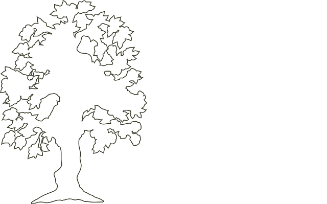 black, simple, outline, drawing, silhouette, tree