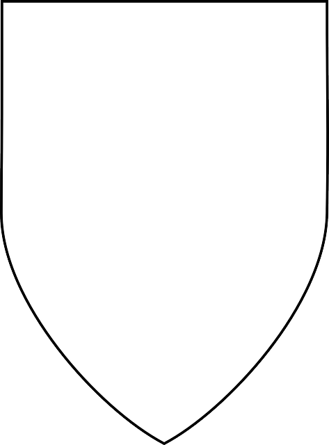 black, simple, outline, drawing, white, shield