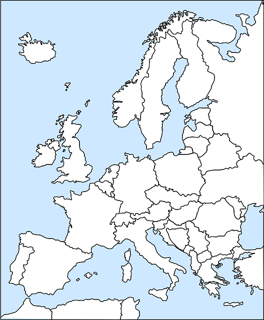black, simple, outline, europe, map, northern, western