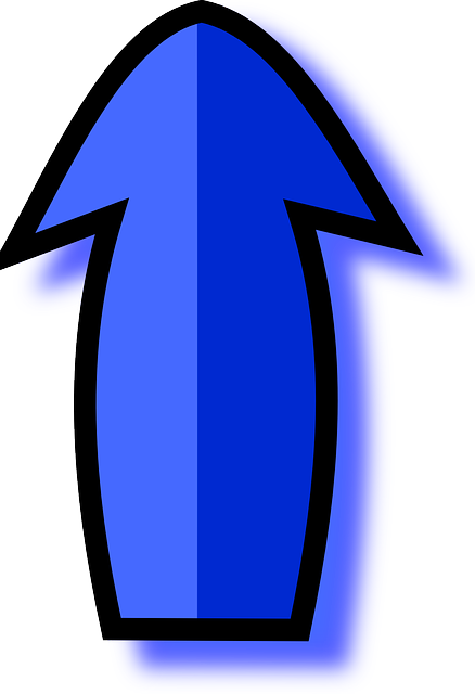 blue, arrow, pointing, upwards, point
