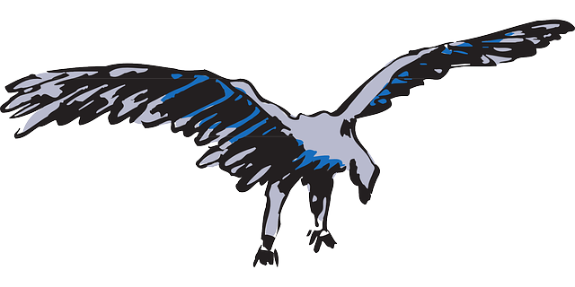 blue, bird, flying, silver, wings, art, animal