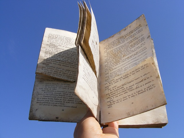 blue, book, dusty, hand, old, reading, sky, education