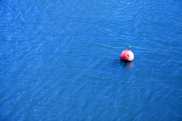 blue, buoy, float, navigation, ocean, red, rope, sea