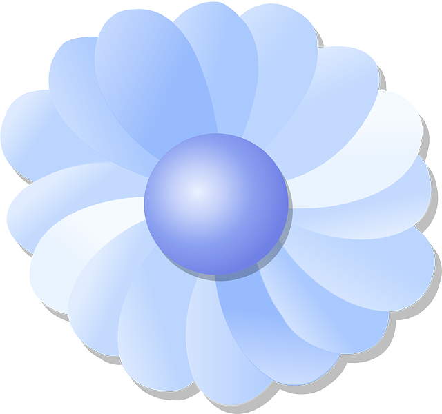 blue, flower, cartoon, purple, plant, single, petals