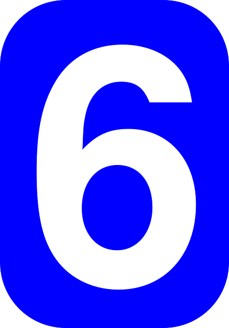blue, white, number, shape, rounded, six, rectangle