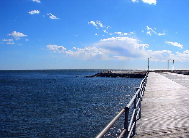 boardwalk, ocean, water, clouds, sky