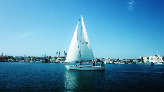 boat, water, blue, white, colorful, vintage