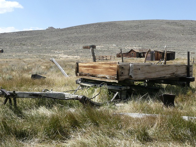 bodie ghost town, california, old wagon, landscape
