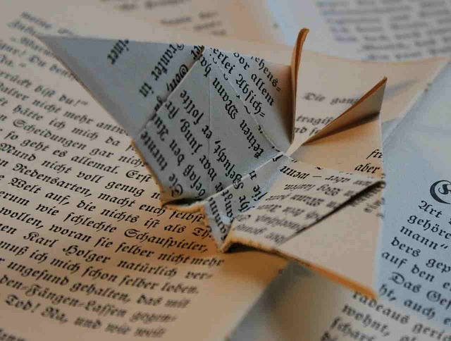 book, origami, paper, folded, fold, book page