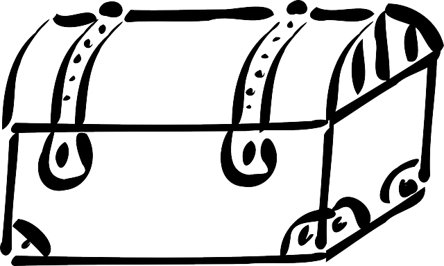 box, outline, cartoon, treasure, chest, trunk, trunks