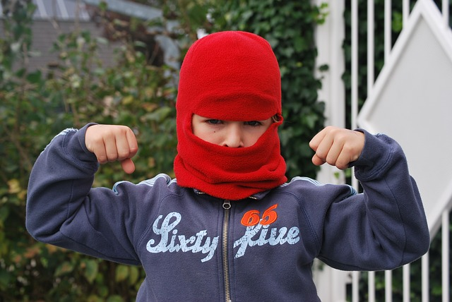 boy, mask, tough, red, hat, elbow grease, fighting