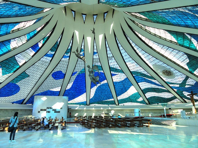 brasilia, brazil, cathedral, church, interior, decor