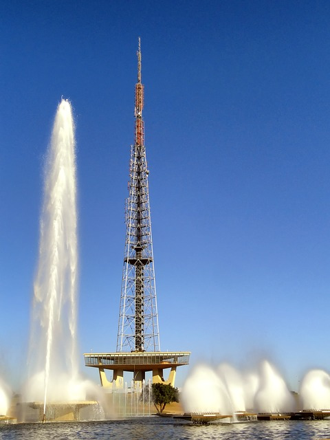 brasilia, brazil, tv tower, structure, fountain, spray