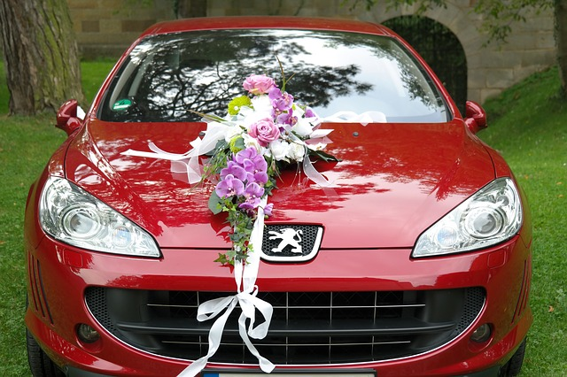 bridal car, wedding, limousine, spotlight, flowers