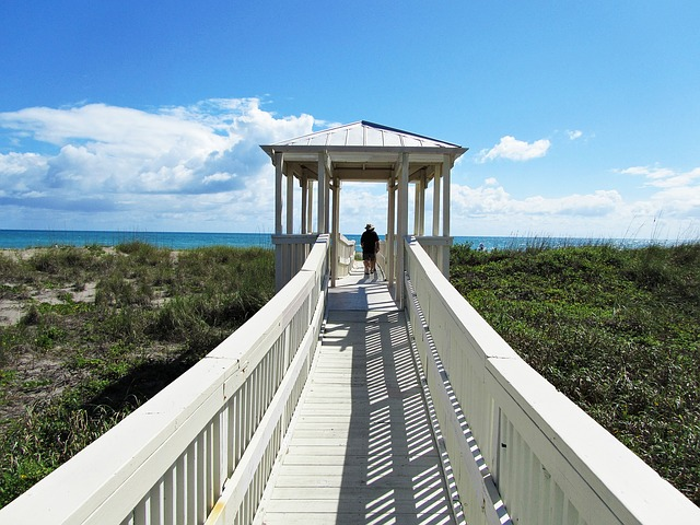 bridge, ocean, florida, walkway, ft pierce