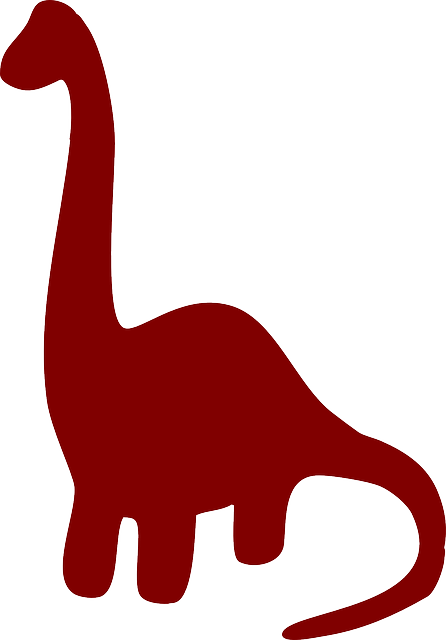 brown, silhouette, dinosaur, long, ancient, necked