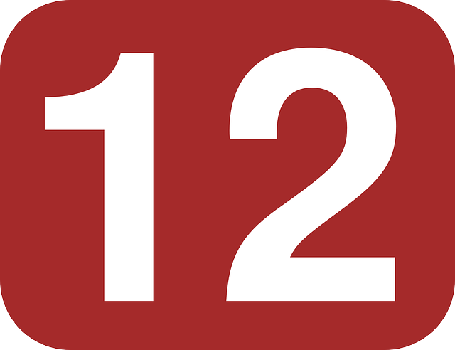brown, white, number, rounded, twelve, rectangle, 12