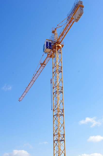 building, crane, new, sky, skyscraper, tall, blue