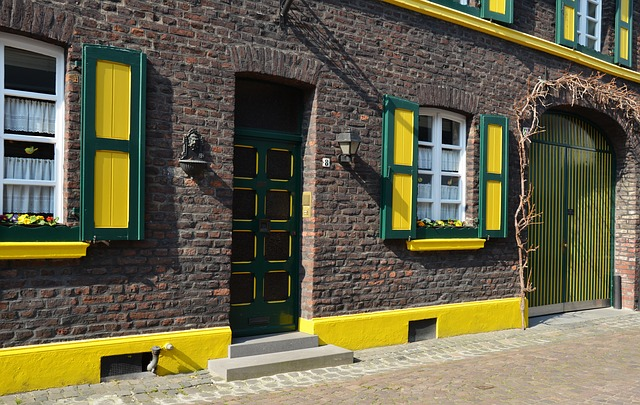 building, facade, yellow, green, age, architecture