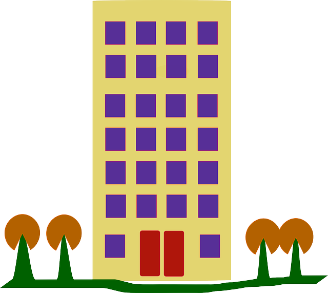 building, flat, cartoon, trees, windows, doors, tall