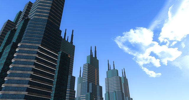 buildings, 3d, 3 dimensional, city, sky, cloud