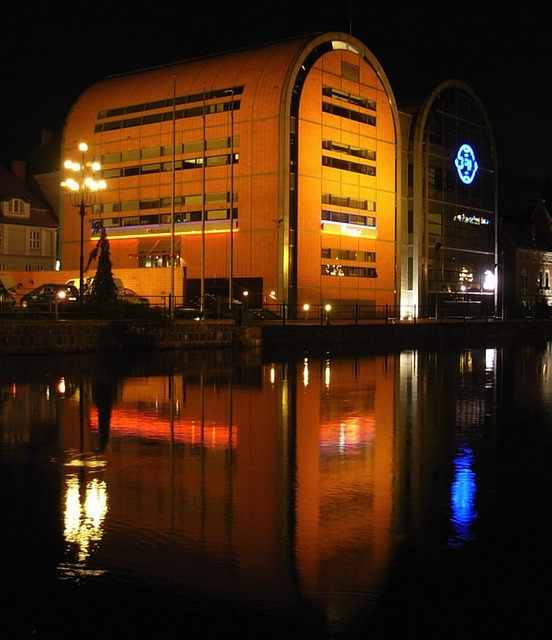 buildings, architecture, night, evening, water