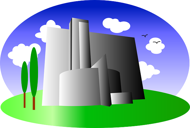 buildings, building, factory, green, office, cartoon