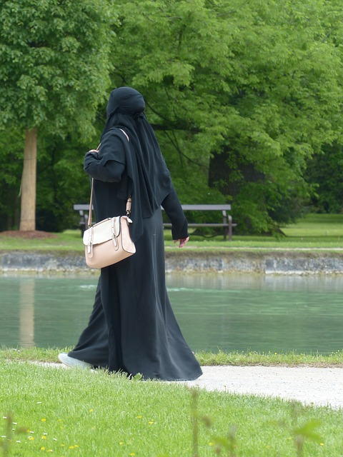 burka, muslim, garment, veiling, woman, person, black