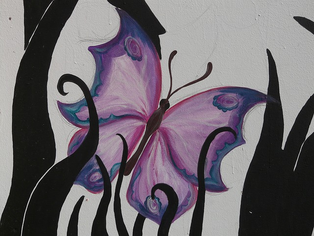 butterfly, animal, art, painting, mural, drawing