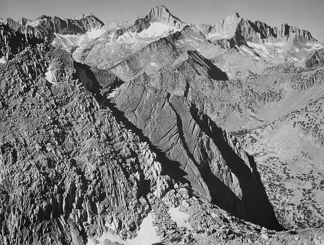 california, mountains, 1930s, black and white, sky