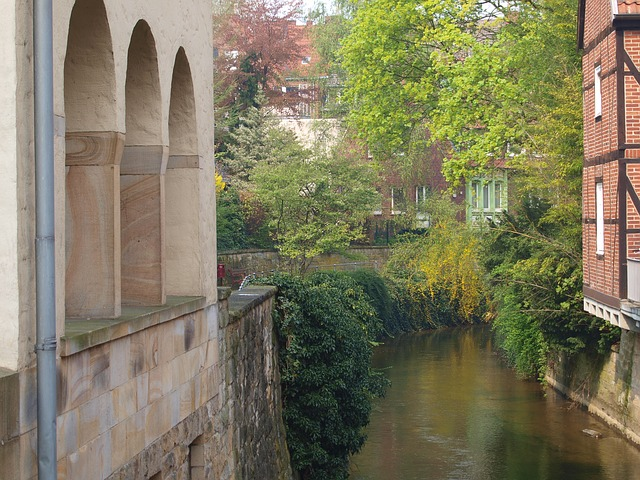 canals, münster, water, channel, canal, city, window