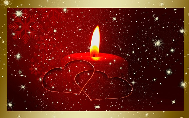 candle, candlelight, red, heart, white, snow