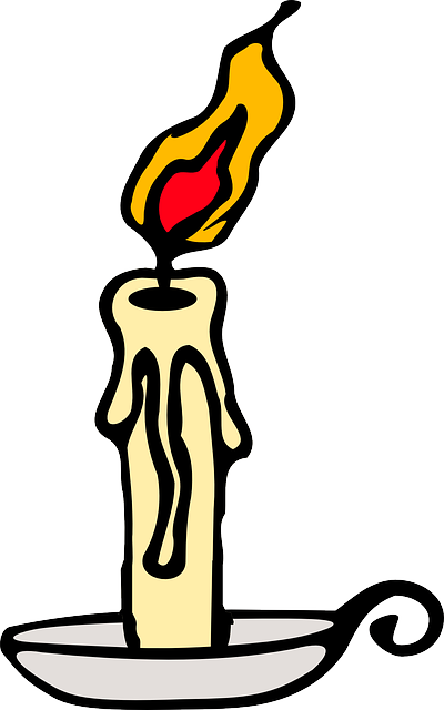 candle, outline, yellow, fire, cartoon, lit, flame