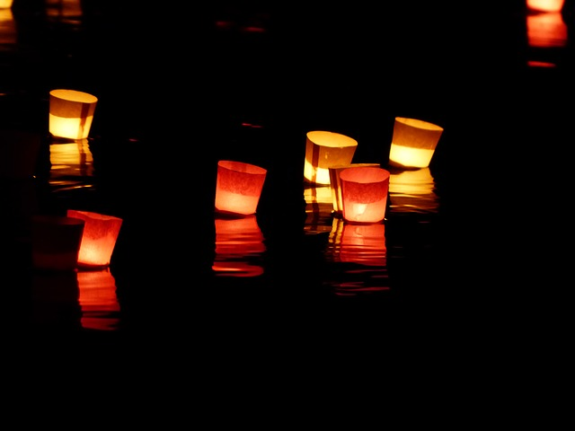 candles, lights serenade, lights, river, swim, romance